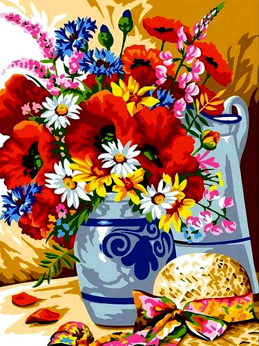 Картина по номерам 40x50 Букет полевых цветов и шляпа