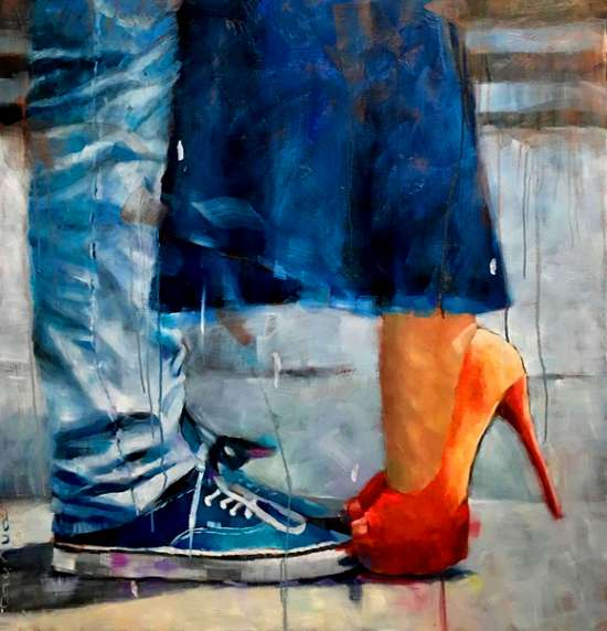 Картина по номерам 40x50 Девушка в туфлях и парень в кедах